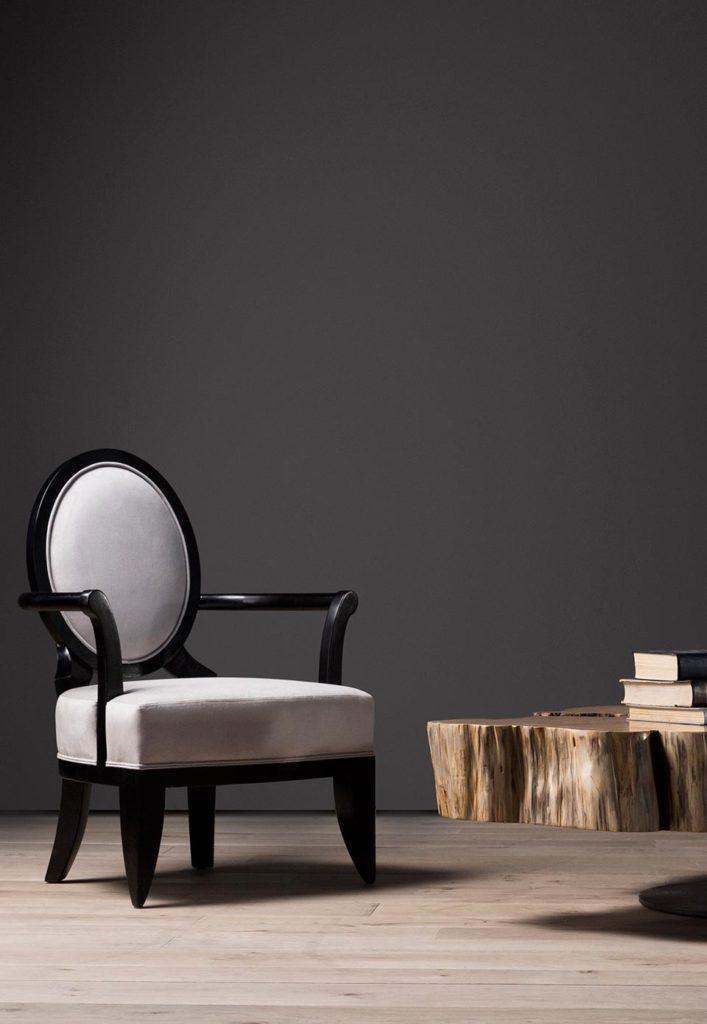 Ovalback armchair with custom yellowwood coffee table