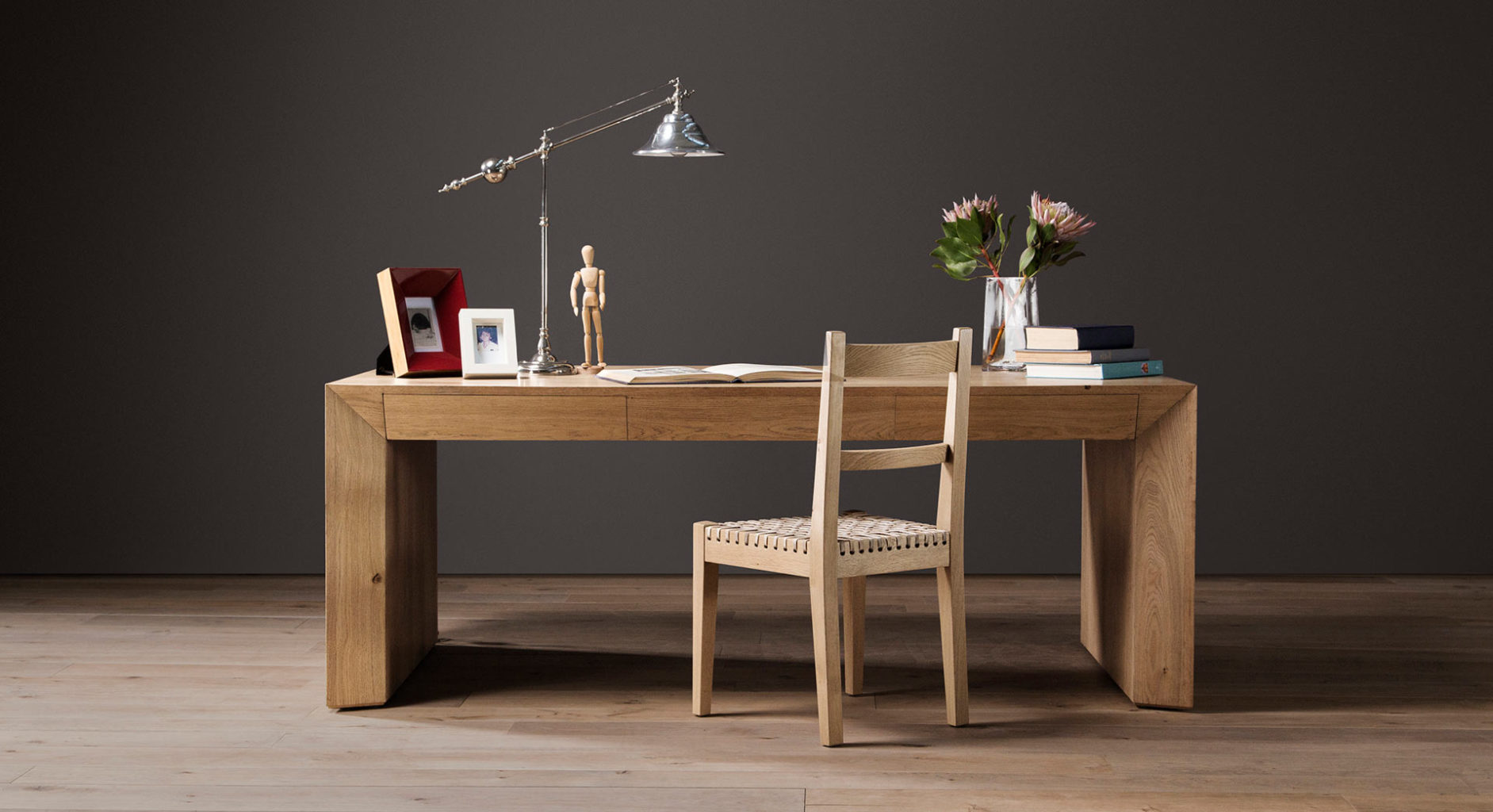 Parsons Desk in French Oak with Karoo Chair