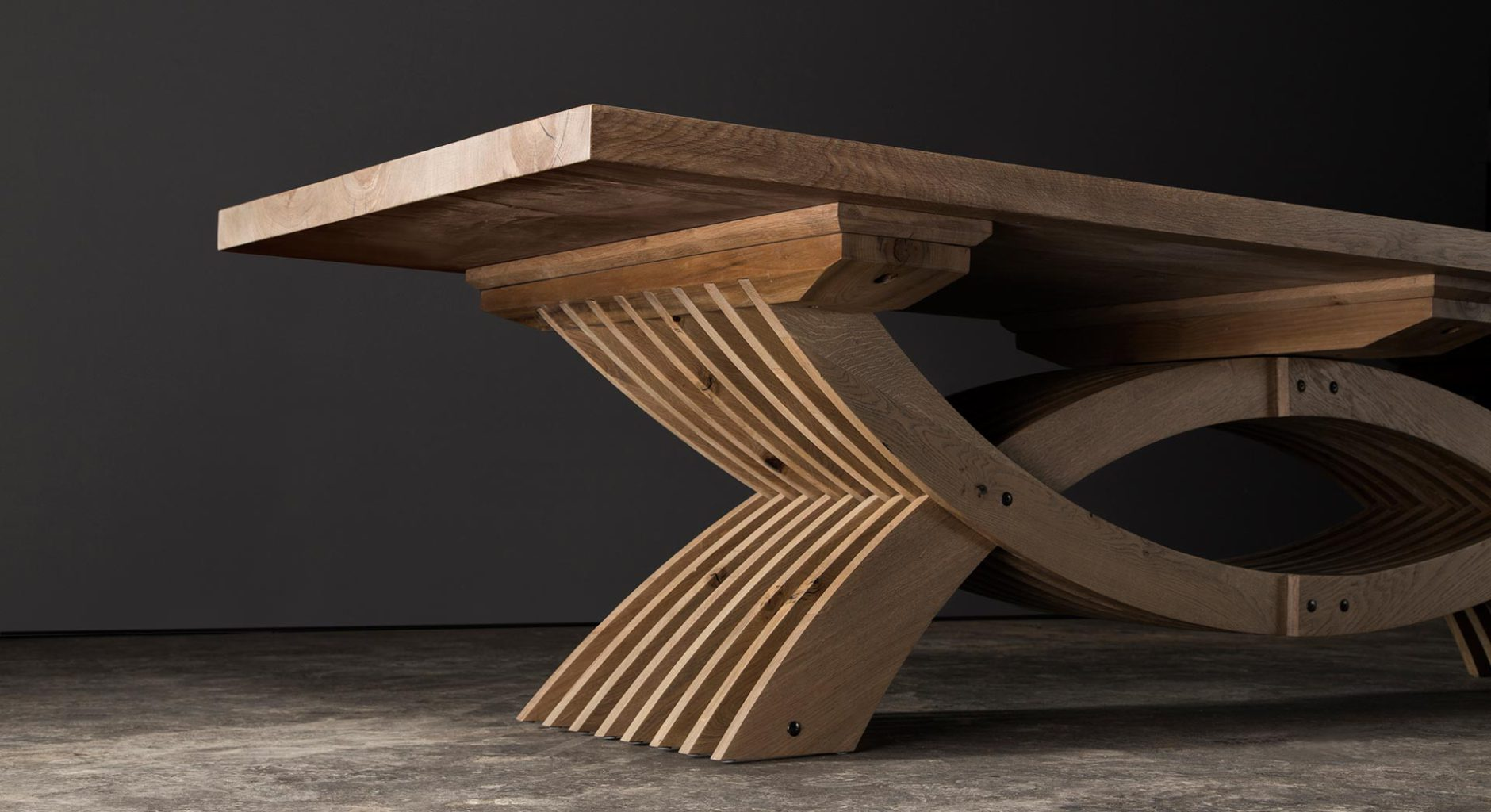 Solid wood dining table in contemporary design