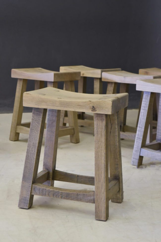 A-frame Barstool with Curved Seat in French Oak