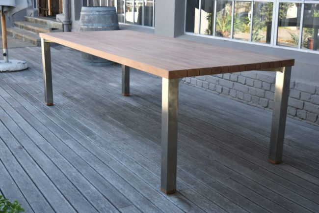 Outdoor Mahogany Table with Slatted Top and Metal Base