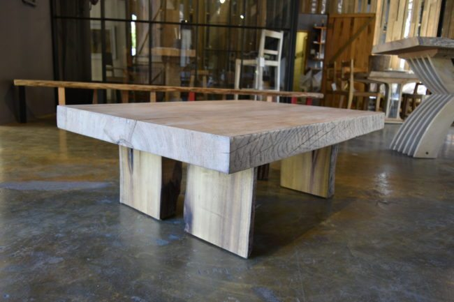 Plinth Style Coffee Table in Stinkwood and Oak