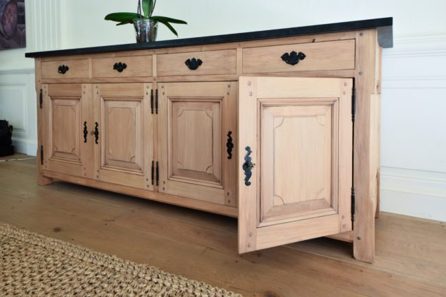 Lorraine Yellowwood Sideboard with Leathered Marble Top