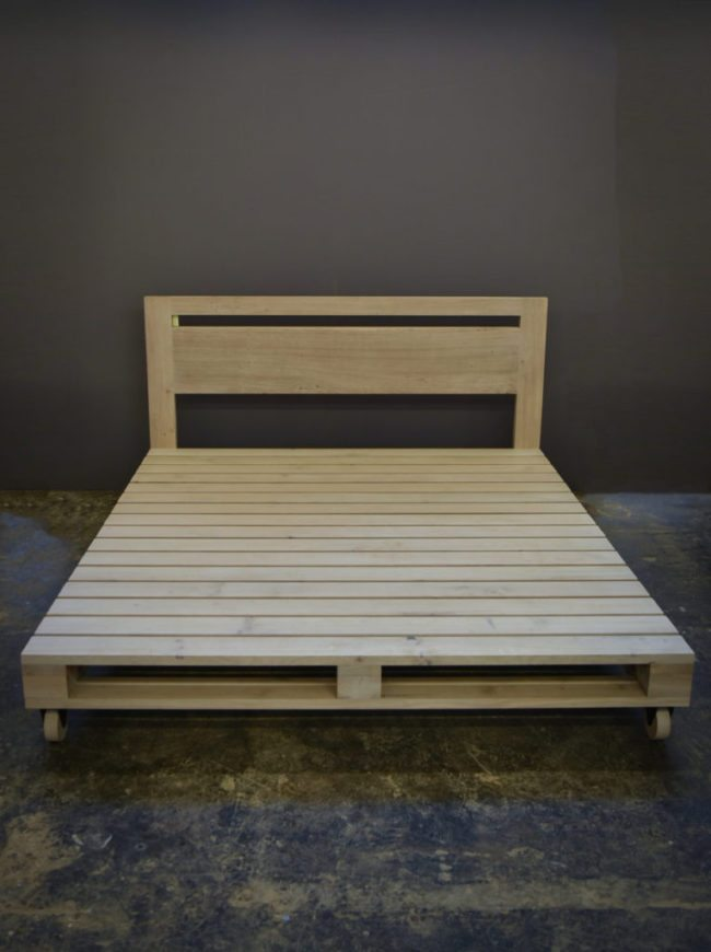 Pallet Style Bed in French Oak