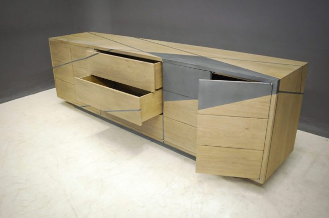 Bespoke Sideboard in French Oak and Mild Steel detailing